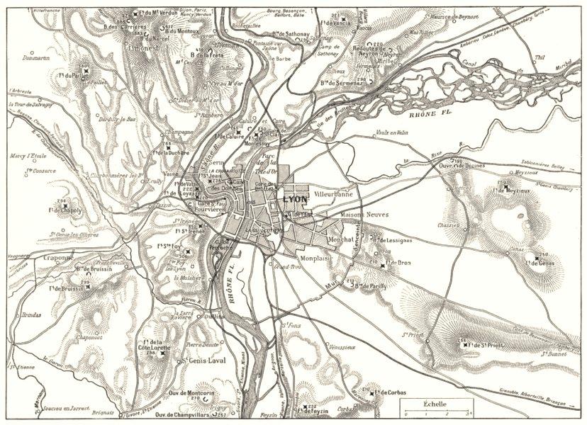 Associate Product RHÔNE. Camp Retranché de Lyon 1900 old antique vintage map plan chart