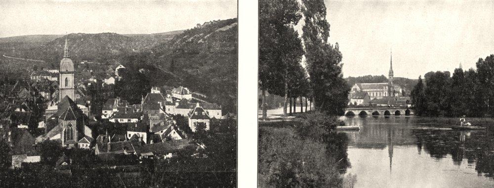 DOUBS. Baume- les- dames; Montbéliard 1900 old antique vintage print picture