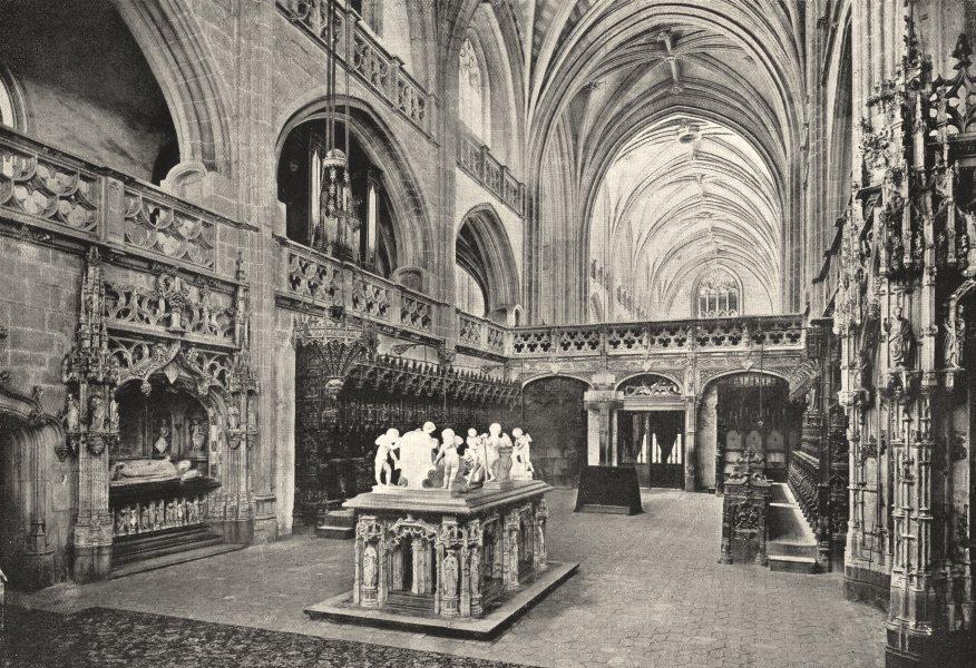 Associate Product AIN. Le Choeur et les Tombeaux de L'Église de Brou 1900 old antique print