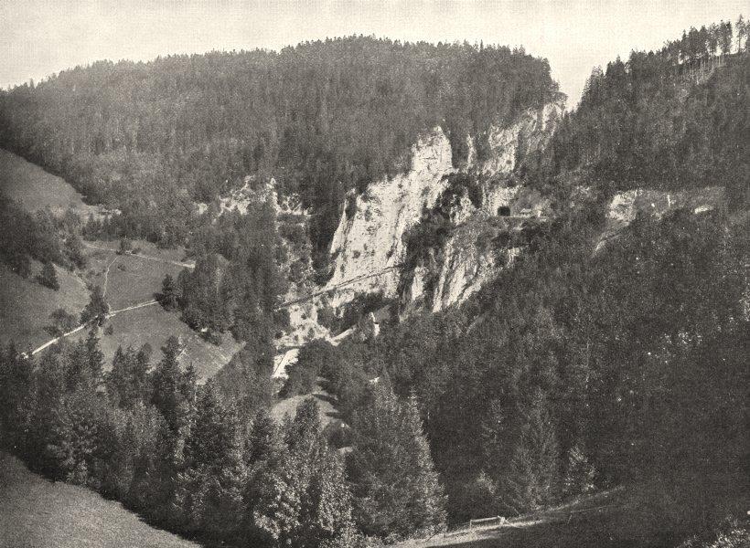 Associate Product DOUBS. Le Col des Roches (Frontière Franco- Suisse)  1900 old antique print
