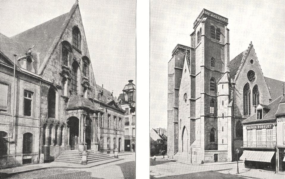 CÔTE- D'OR. Dijon. Palais de Justice; Dijon. Èglise Saint- Jean 1900 old print