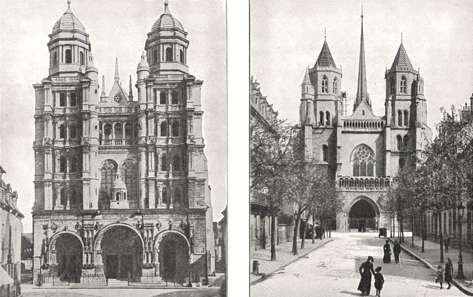 Associate Product CÔTE- D'OR. Dijon. Église Saint- Michel; Dijon. Cathédrale Saint- Bénigne 1900