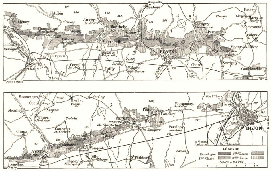 Associate Product FRANCE. Principaux crus de Bourgogne 1900 old antique vintage map plan chart