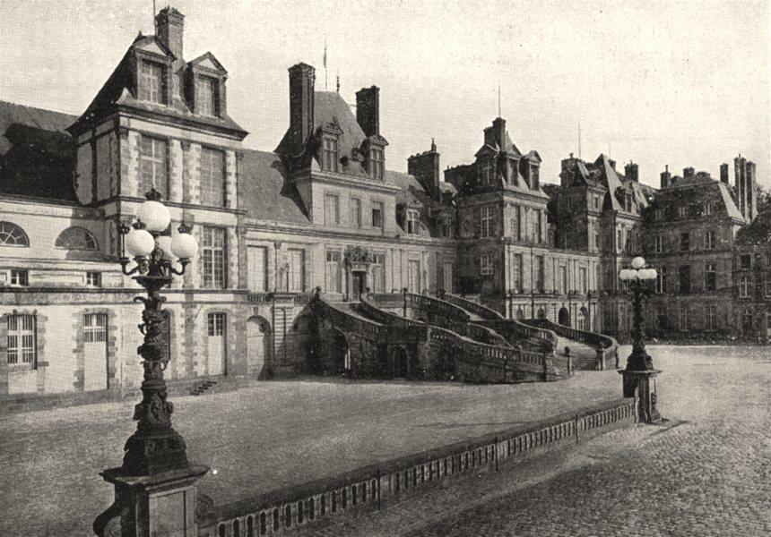 Associate Product SEINE- ET- MARNE. Chateau de Fontainebleau. La Cour les Adieux 1900 old print