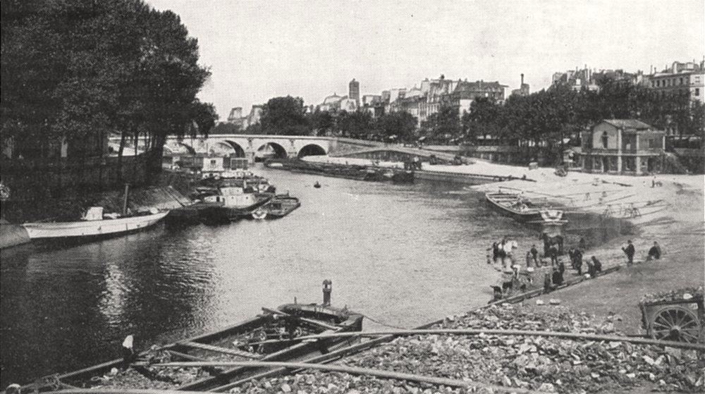 Associate Product PARIS. La Seine au Quai D'anjou. A Gauche, L'ile Saint- Louis 1900 old print