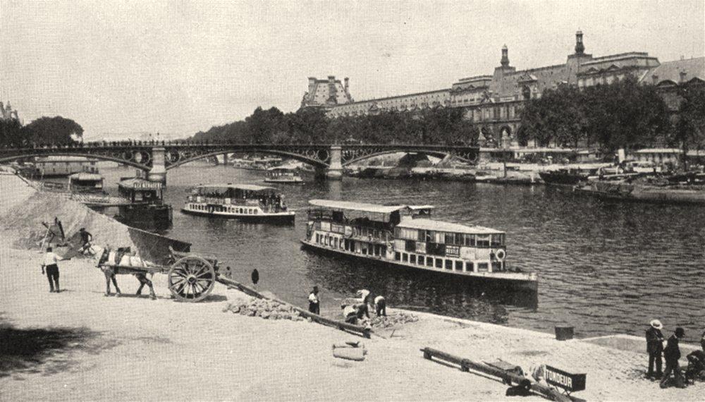 Associate Product PARIS. Tondeurs de Chiens sur la Berge. Au Fond, Le Louvre 1900 old print