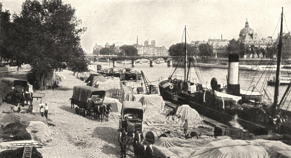 Associate Product PARIS. La Seine dans Paris. Port Saint- Nicolas 1900 old antique print picture
