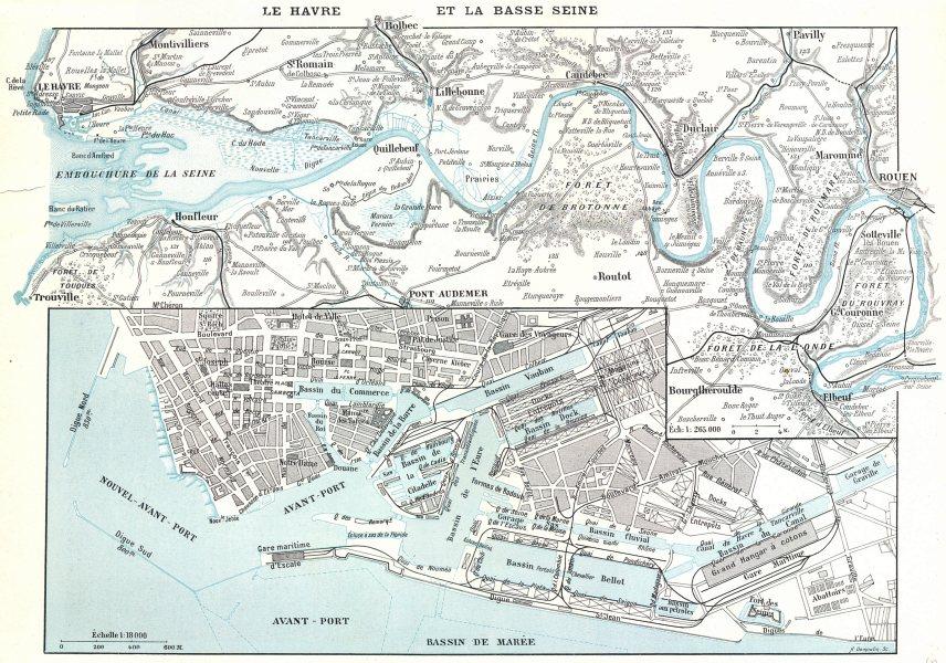 Associate Product SEINE- MARITIME. Le Havre Basse Seine; Bassin Marée 1900 old antique map chart