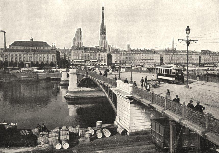 Associate Product SEINE- MARITIME. Rouen. Le Pont Boieldieu 1900 old antique print picture