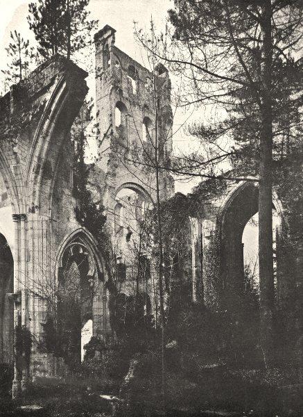 Associate Product SEINE- MARITIME. Ruines de L'Abbaye de Jumièges 1900 old antique print picture