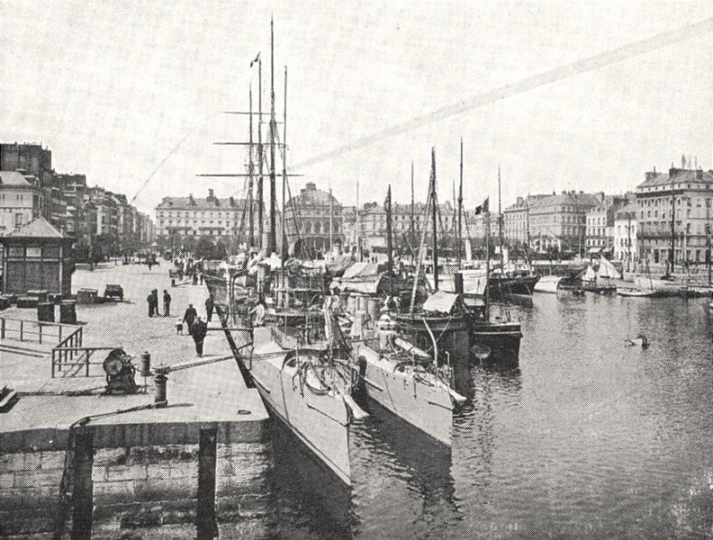 Associate Product SEINE- MARITIME. Le Havre. Bassin du Commerce 1900 old antique print picture