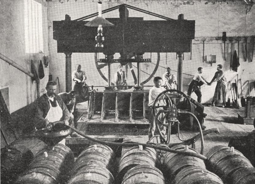 Associate Product FRANCE. Vignoble de Champagne. Remplissage des futs 1900 old antique print