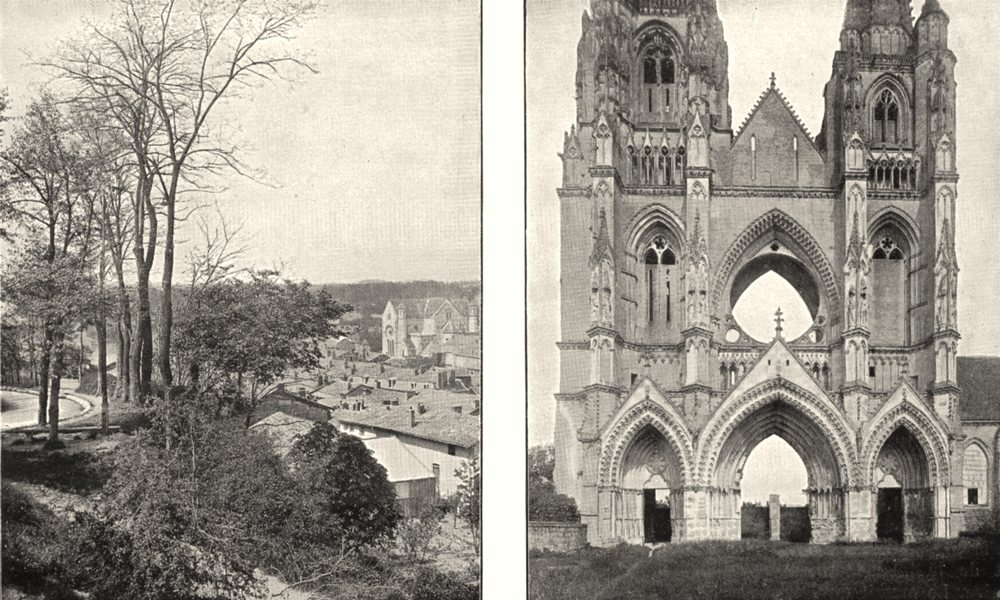 Associate Product MARNE. sur Ste- Menehould; Soissons. Ruins St- jean- - vignes 1900 old print