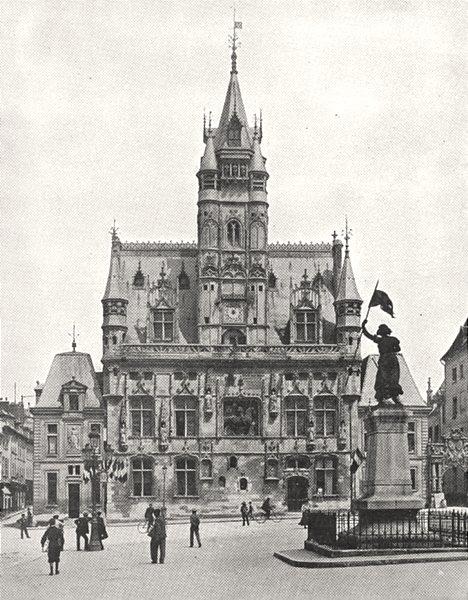 Associate Product OISE. Hôtel de Ville de Compiègne 1900 old antique vintage print picture