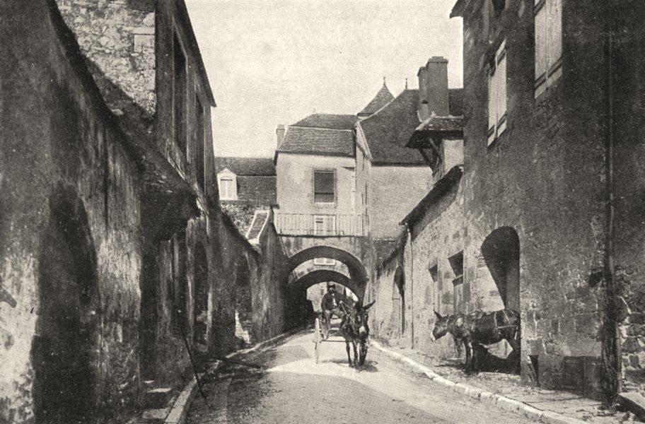 Associate Product YONNE. Vieille Rue a Vézelay 1900 old antique vintage print picture