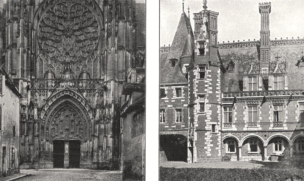 Associate Product YONNE. Cathédrale de Sens. Portail Latéral; Cour du Chateau de Maintenon 1900