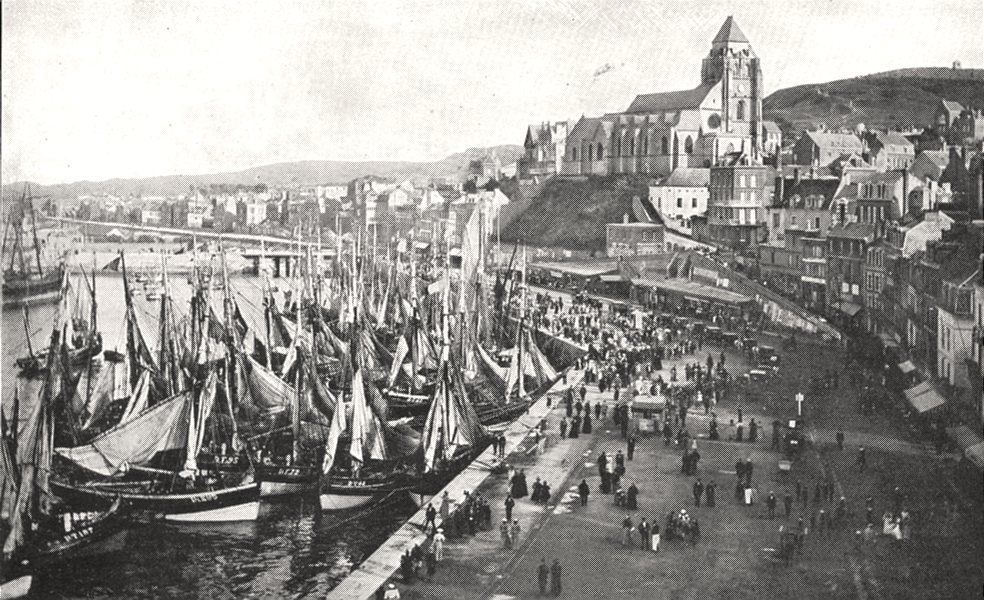 Associate Product SEINE- MARITIME. Le Tréport. Le port et L'église Saint- Jacques 1900 old print