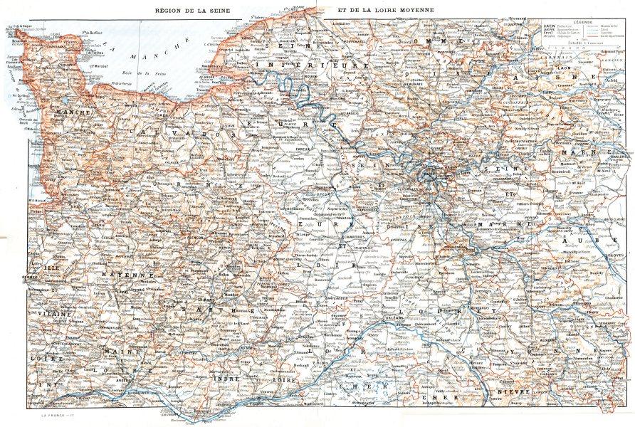 Associate Product LOIRE. Région de la Seine et de la Loire Moyenne 1900 old antique map chart