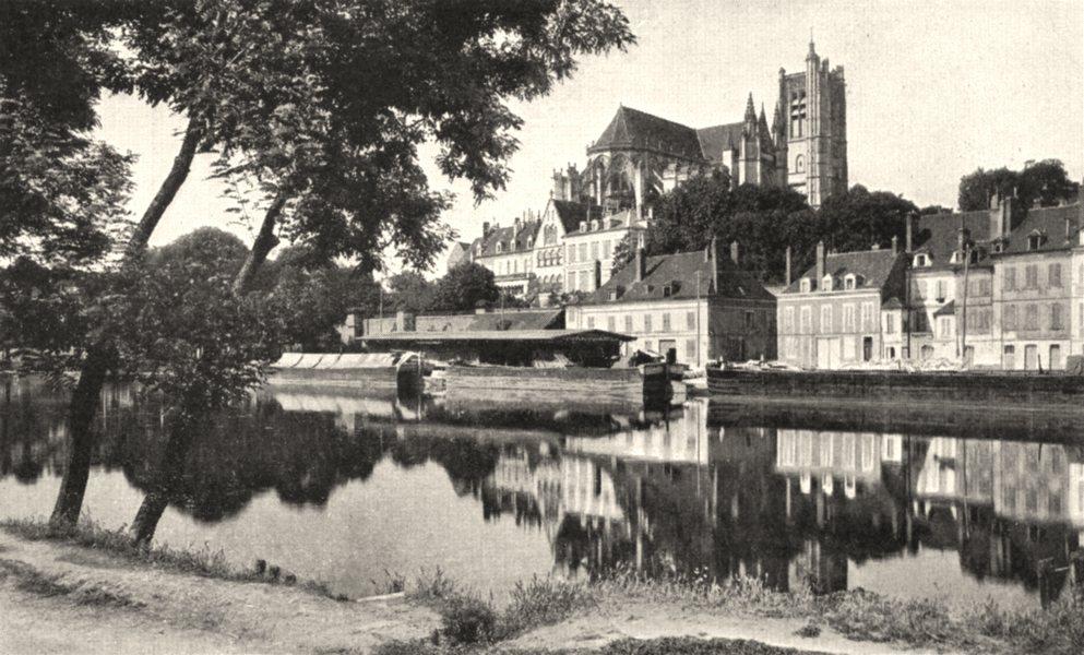 Associate Product YONNE. Auxerre. Cathédrale et bords de L'yonne 1900 old antique print picture