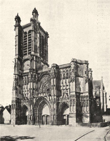 Associate Product AUBE. Façade de la Cathédrale de Troyes 1900 old antique vintage print picture