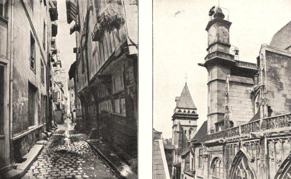 Associate Product PARIS. Vieille rue Marché Pains; Ancien Beffroi L'église St- jean 1900 print