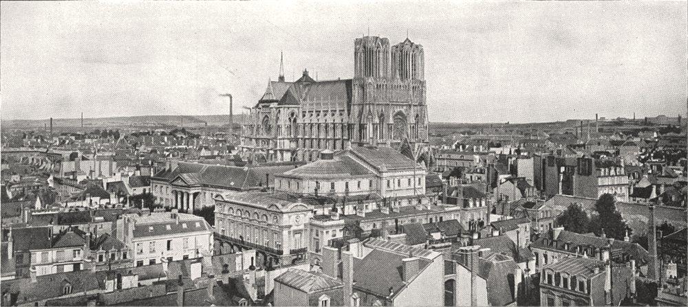 Associate Product MARNE. Vue Générale de la ville et de la Cathédrale de Reims 1900 old print