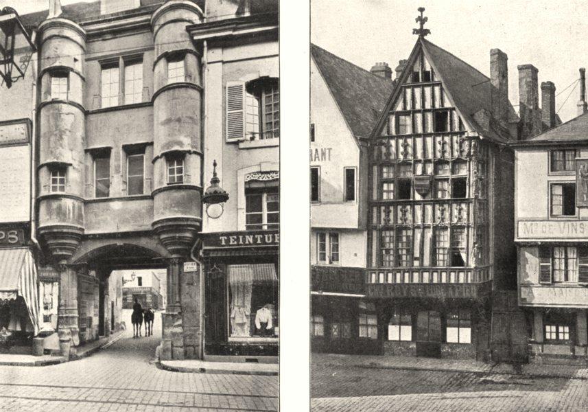 Associate Product MARNE. Reims. Cour du Chapitre; Maison ancienne, place du Marché 1900 print