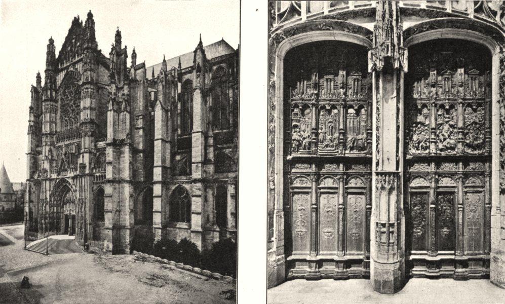 Associate Product OISE. Cathédrale de Beauvais. portail; Portes 1900 old antique print picture