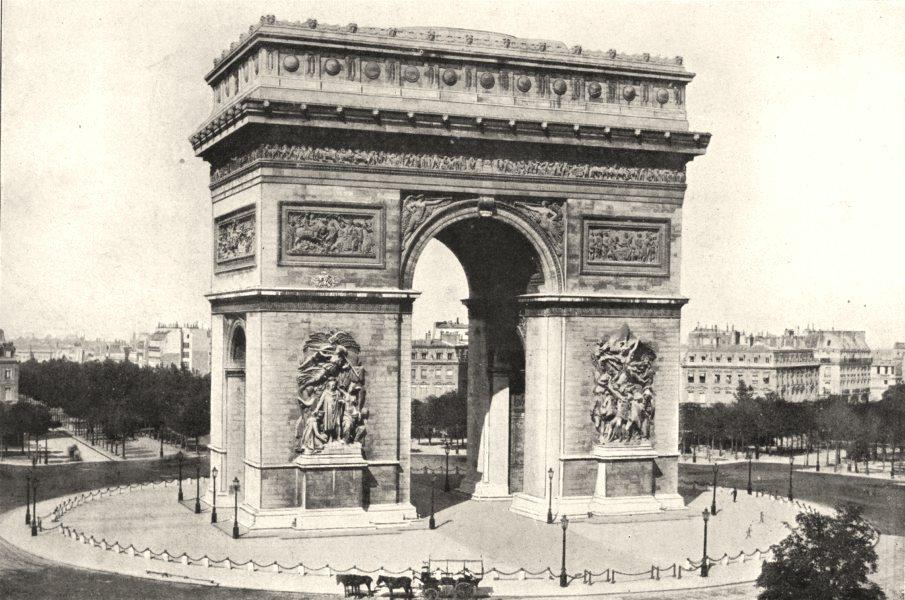 Associate Product PARIS. Paris. Arc de Triomphe de L'étoile 1900 old antique print picture