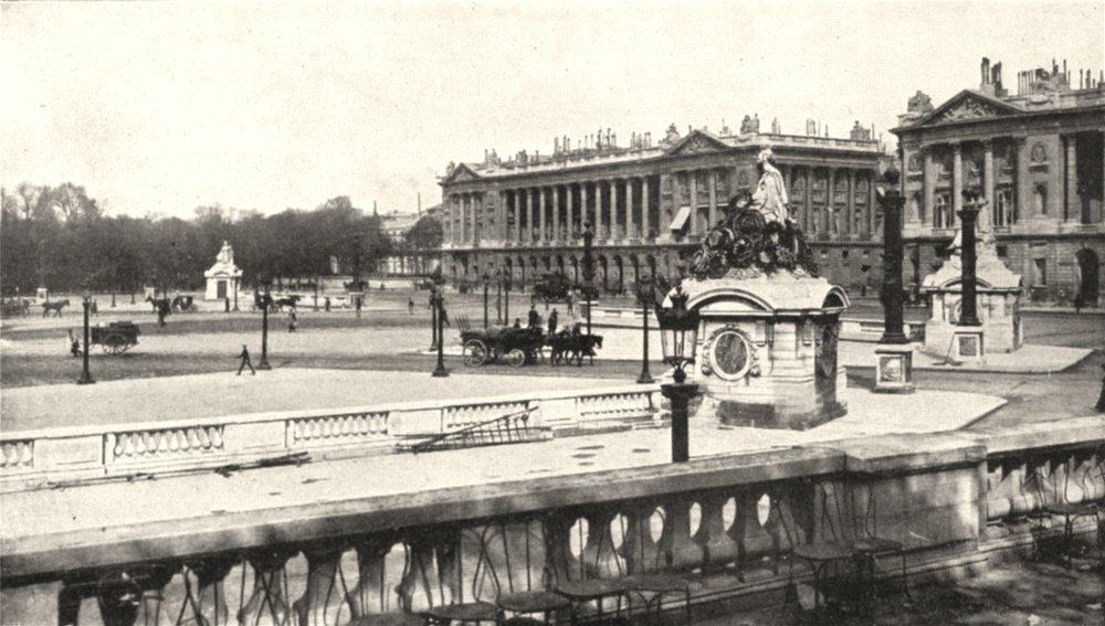 Associate Product PARIS. Place de La Concorde et statue de Strasbourg 1900 old antique print
