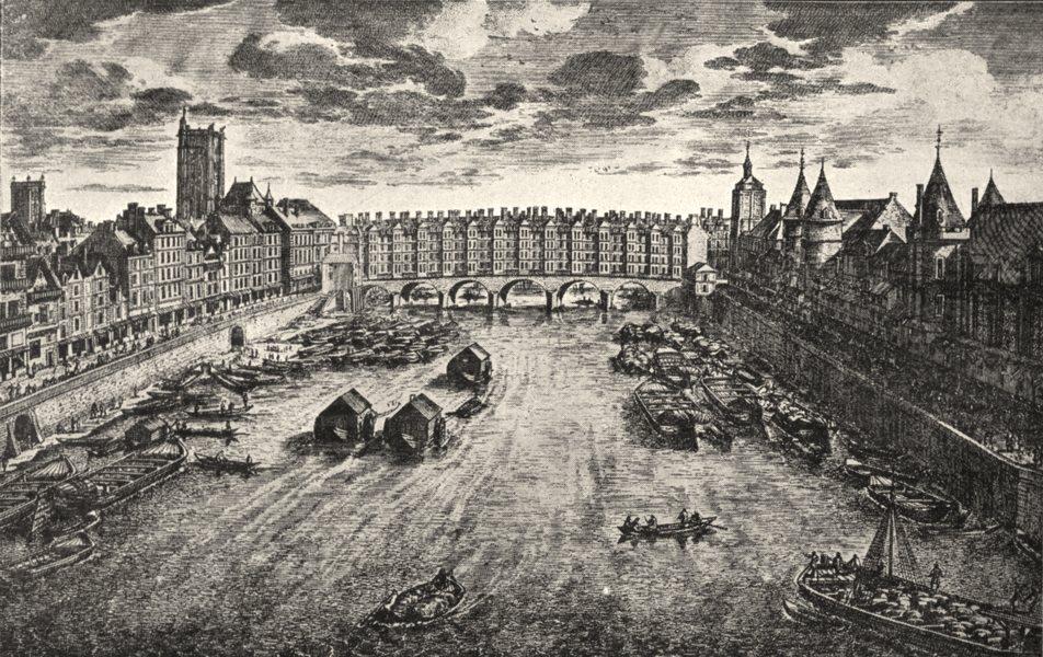 Associate Product PARIS. Paris. Le pont- au- change, Au XVIIe Siècle 1900 old antique print