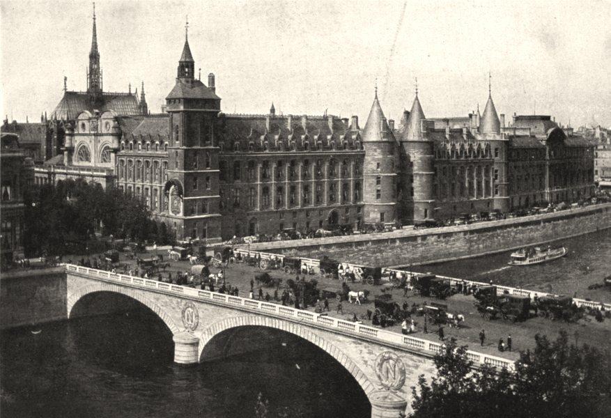 Associate Product PARIS. Paris. Palais de Justice et Pont- au- change 1900 old antique print