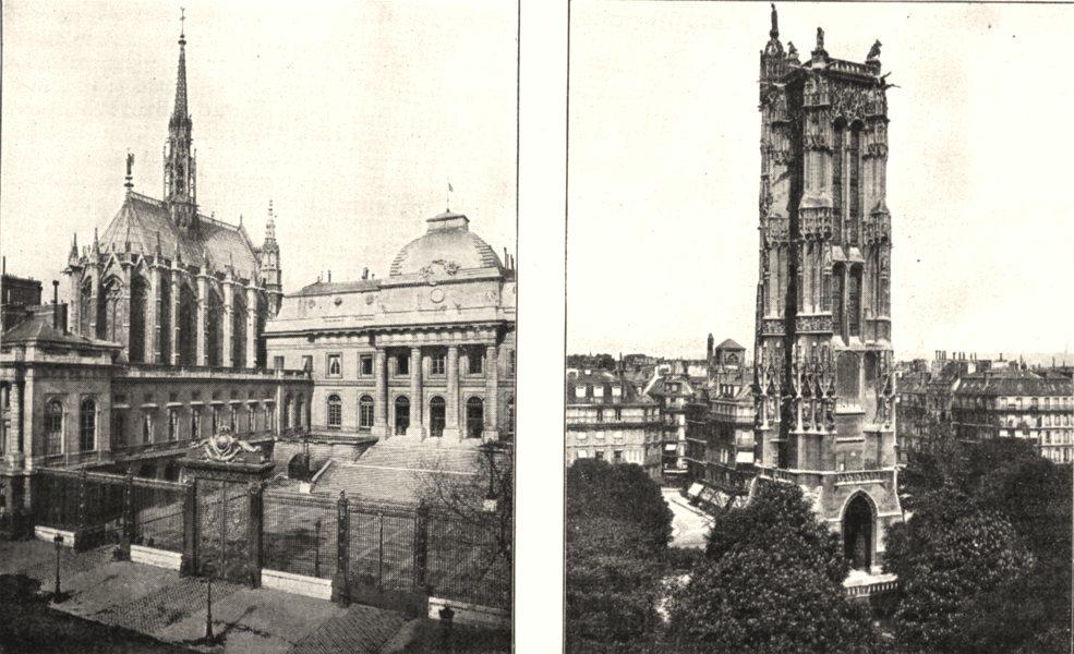 Associate Product PARIS. La Sainte- chapelle; La Tour Saint- Jacques 1900 old antique print