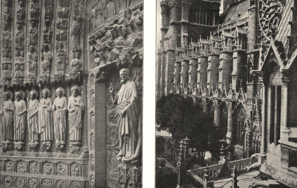 Associate Product PARIS. Notre- dame. Statues porche Cent. Contreforts Notre- dame 1900 print