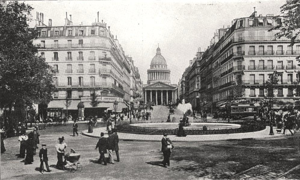 Associate Product PARIS. La Rue Soufflot et le Panthéon 1900 old antique vintage print picture