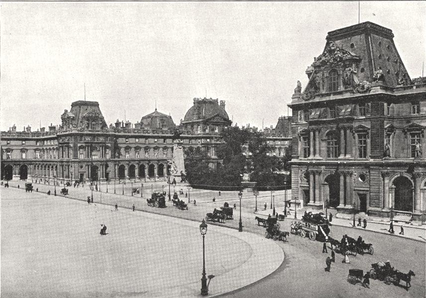 PARIS. Le Nouveau Louvre et la place du Carrousel 1900 old antique print