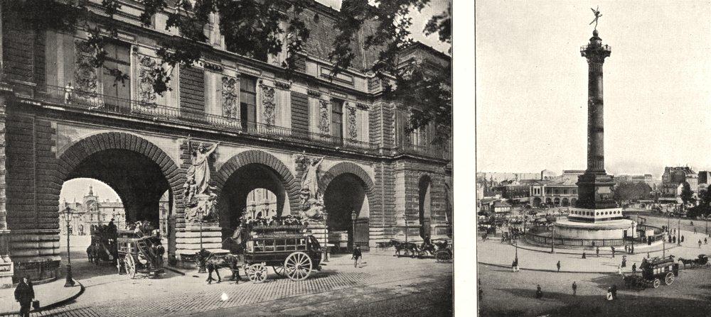 Associate Product PARIS. Les Guichets du Louvre; Colonne de Juillet 1900 old antique print