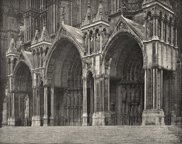 Associate Product EURE- ET- LOIR. Chartres. Portail sud de la Cathédrale 1900 old antique print
