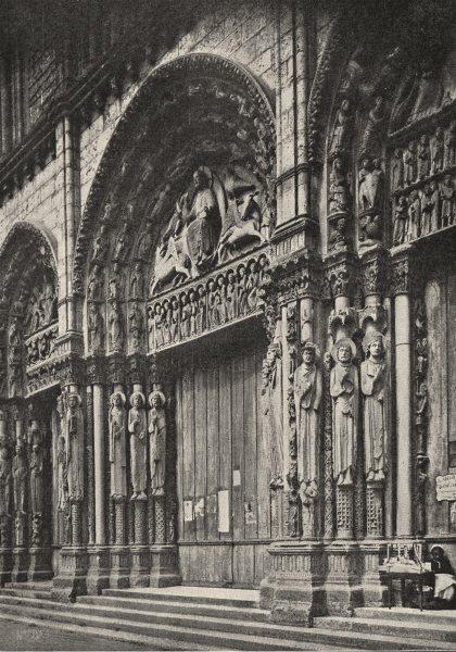 Associate Product PARIS. Façade occidentale de la Cathédrale 1900 old antique print picture