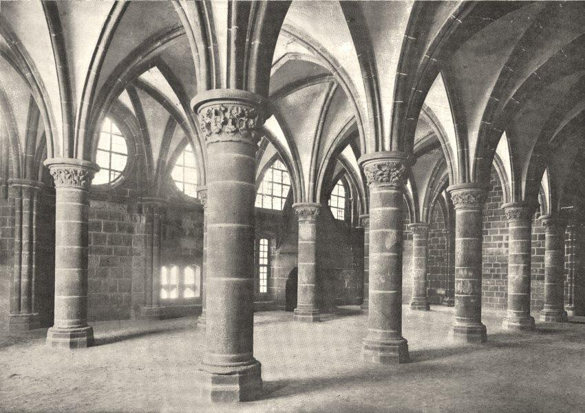 Associate Product MANCHE. Mont- Saint- Michel. La salle des Chevaliers 1900 old antique print