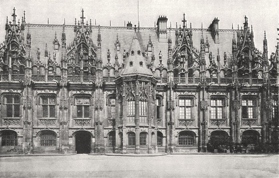 Associate Product SEINE- MARITIME. Rouen. Palais de Justice, Façade sur la cour 1900 old print