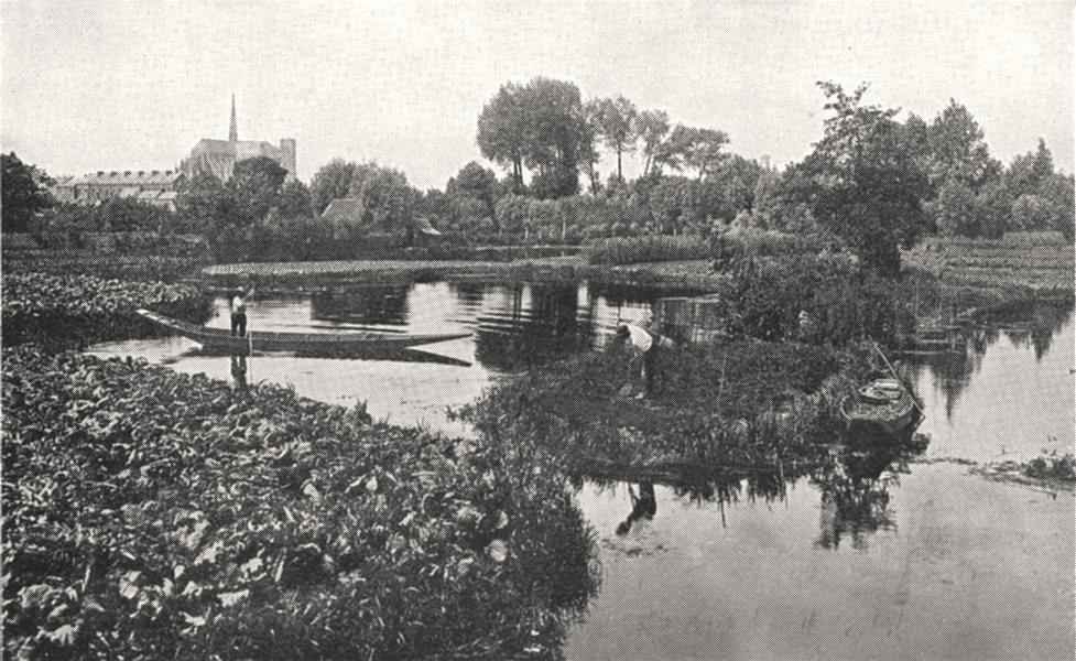 Associate Product SOMME. Les Hortillonnages, a rivery (vallée de la Somme)  1900 old print