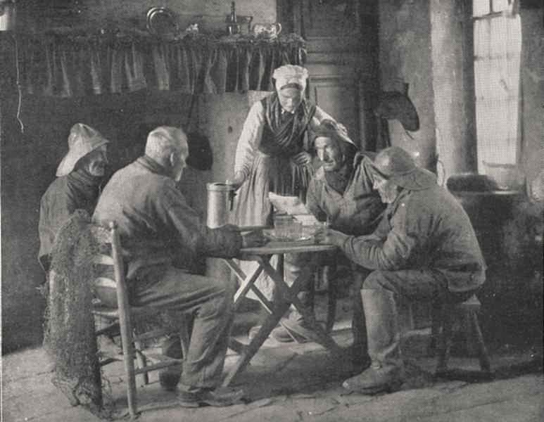 Associate Product FRANCE. Un Intérieur de Pêcheurs 1900 old antique vintage print picture