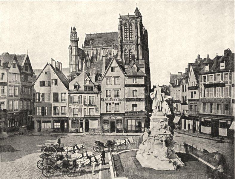 Associate Product SOMME. Abbeville. Place courbet et Église Saint- Vulfran 1900 old print