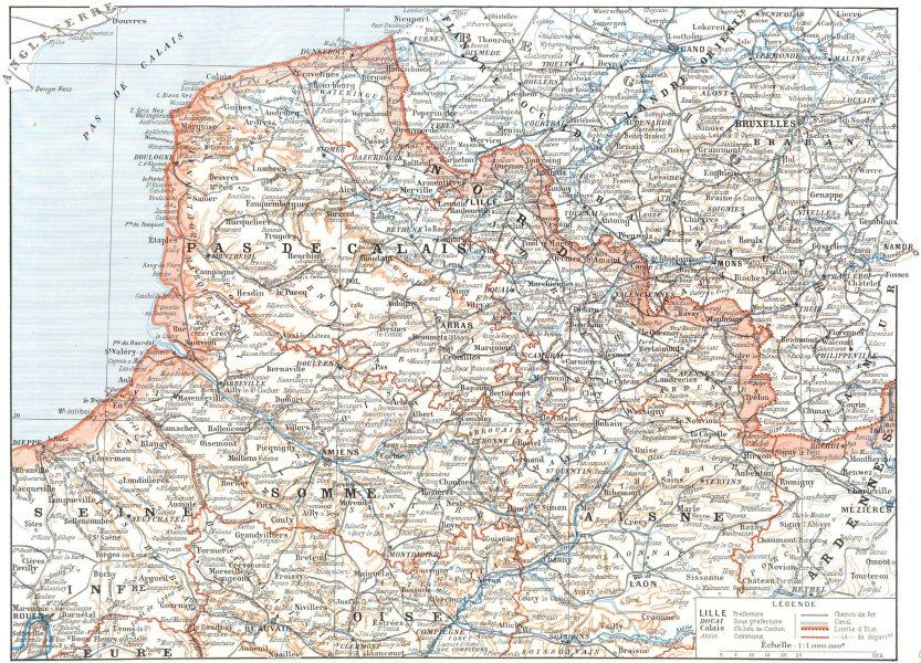 Associate Product FRANCE. Nord de la France 1900 old antique vintage map plan chart