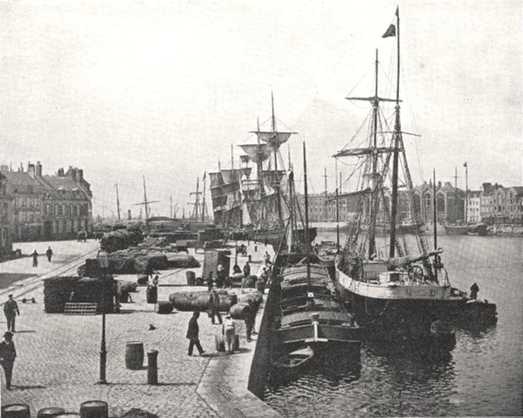 Associate Product NORD. Dunkerque. Quai des Hollandais 1900 old antique vintage print picture