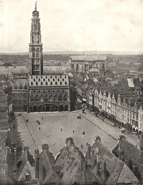 Associate Product PAS- DE- CALAIS. Arras. Place et Hôtel de Ville 1900 old antique print picture