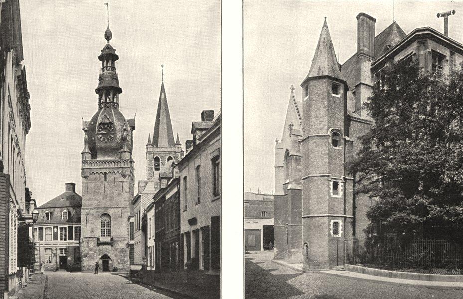 Associate Product NORD. Beffroi de Comines; Lille. Palais Rihour 1900 old antique print picture