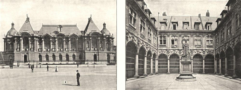 Associate Product NORD. Lille. Palais des Beaux- arts; Lille. Cour de la Bourse 1900 old print