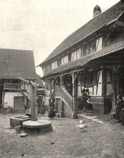 Associate Product BAS- RHIN. Cour de Ferme, a Buswiller 1900 old antique vintage print picture